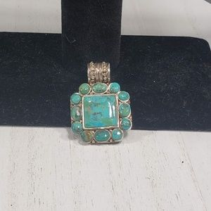 Vintage Turquoise Blue Green Large 925 Pendant